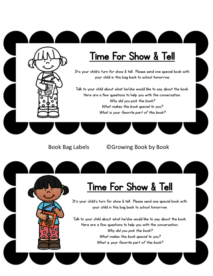 label for show and tell bag