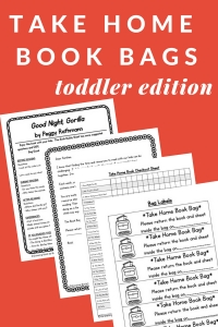 Toddler take home book bags are perfect for promoting family literacy at home.