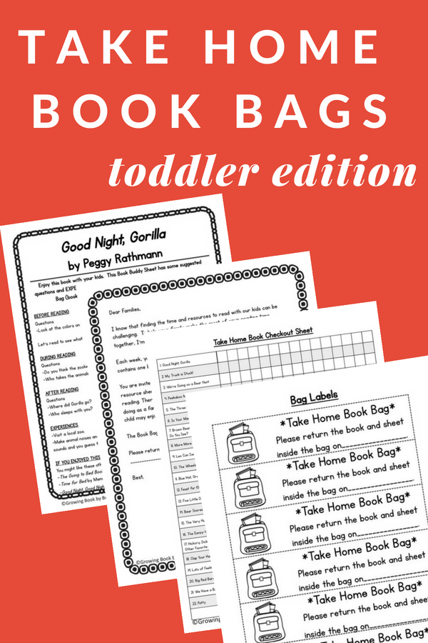 Toddler take home literacy bags are perfect for promoting family literacy at home.