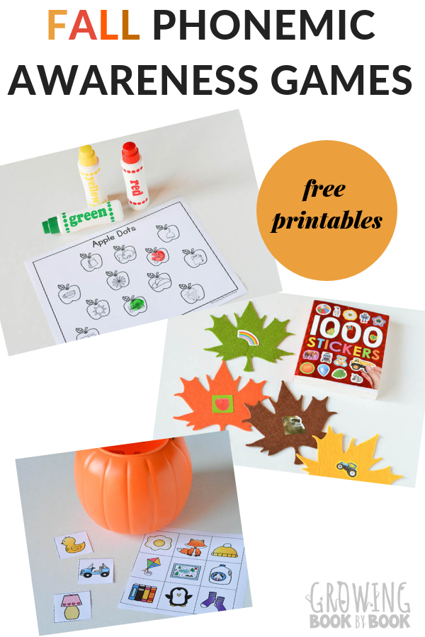 5 different phonemic awareness games for fall