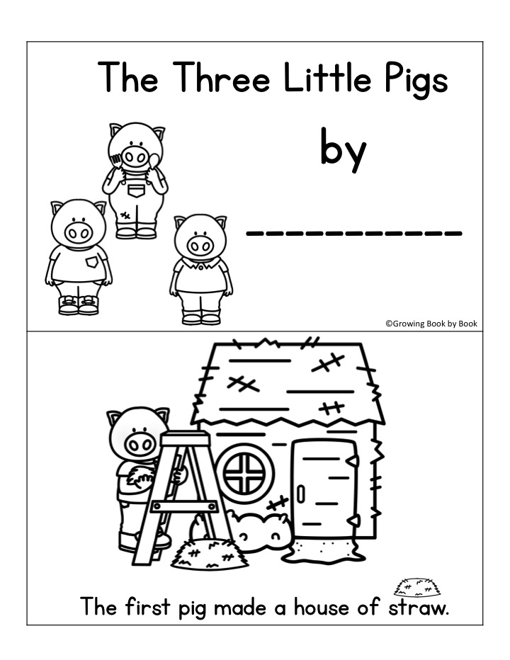 printable emergent reader of The Three Little Pigs