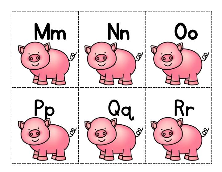 printable pig alphabet cards