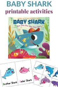 Baby shark printable to use with the song and book.