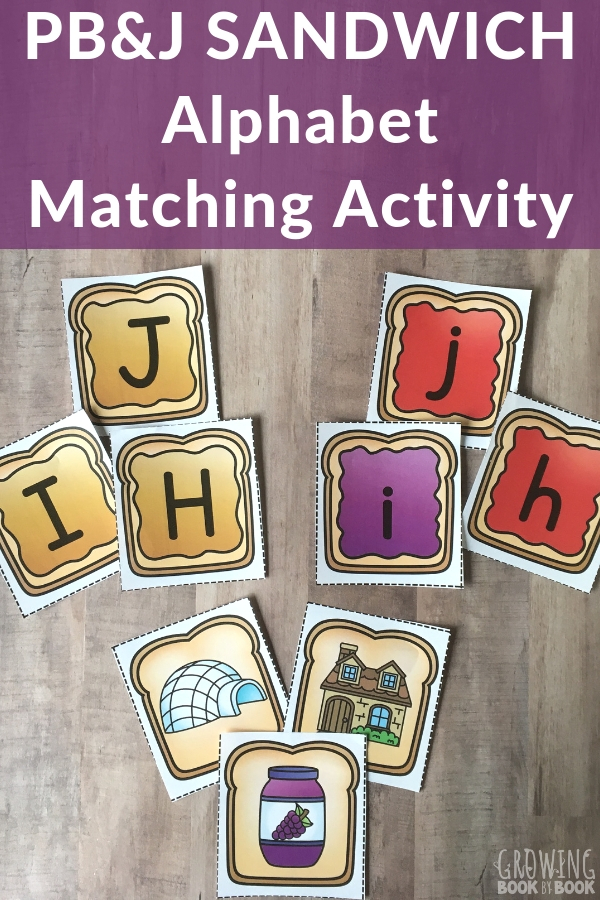 A printable alphabet matching game with a sandwich theme
