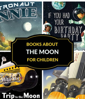 book covers of books about the moon