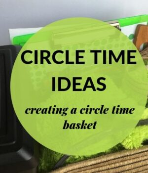 circle time resources kept inside a basket