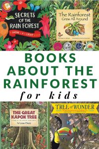 collection of book covers showing books about the rainforest for kids