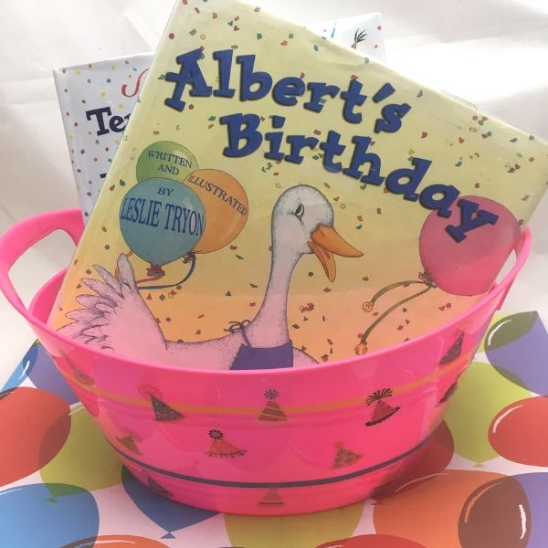 birthday books in a basket