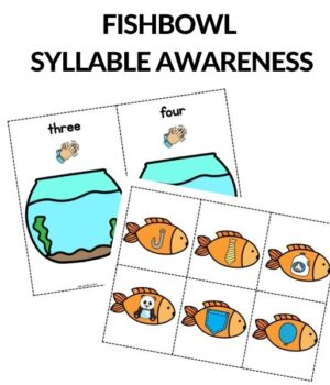 syllable awareness fish themed printables