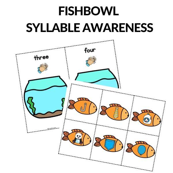 syllable awareness fish themed printables