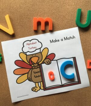 letter matching activity with magnets and turkey printable