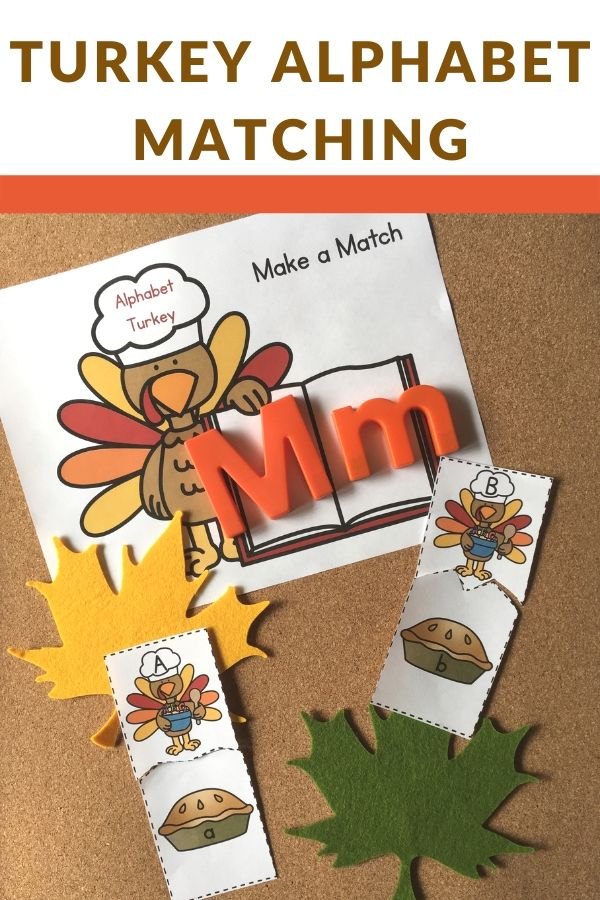 alphabet matching activities with a turkey theme