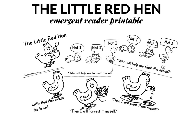 PRINTABLE EMERGENT READER FOR THE LITTLE RED HEN