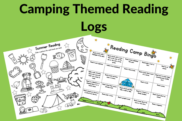 two summer reading logs with a camping theme