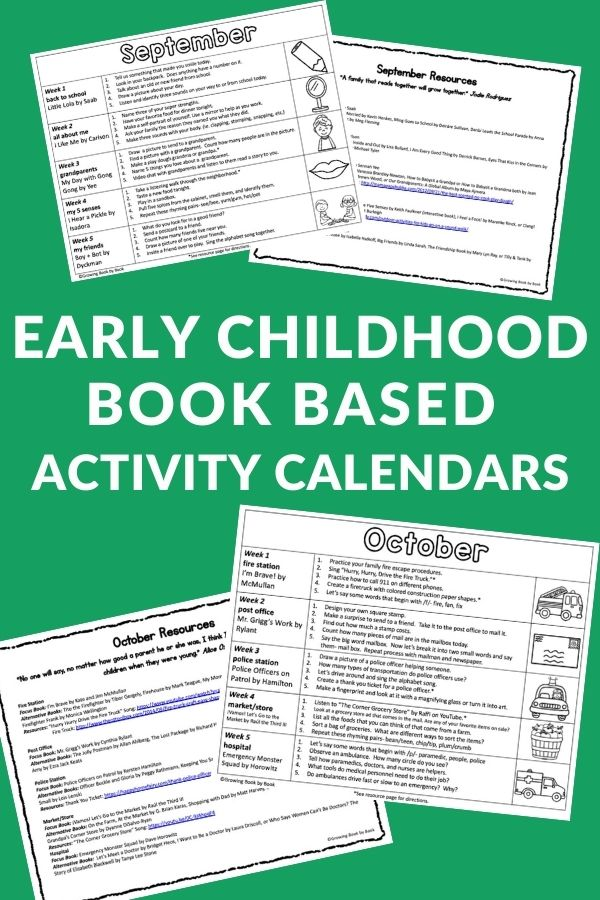 book based activity calendars
