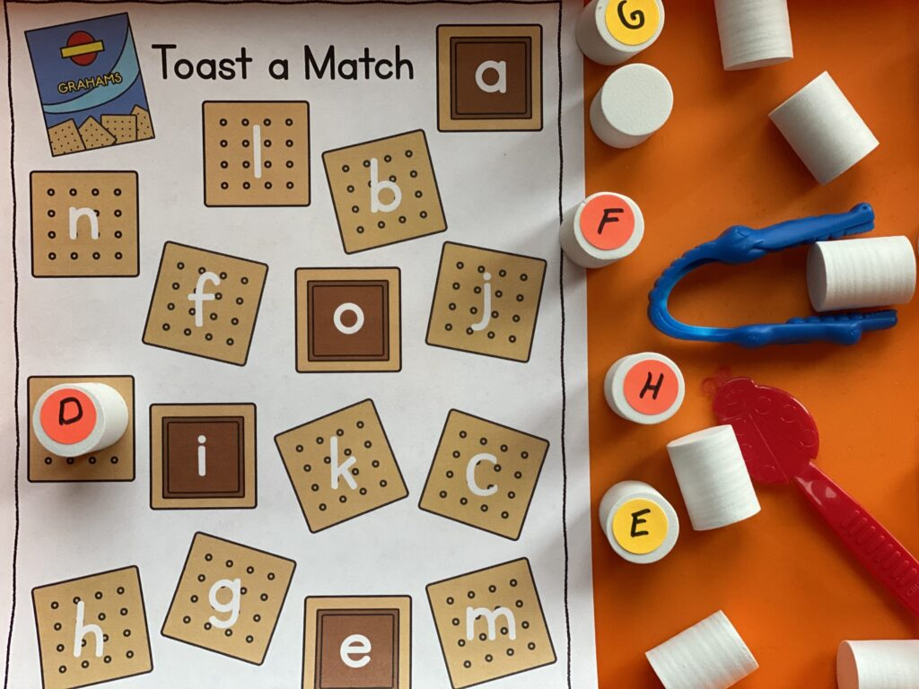 alphabet matching game with s'mores