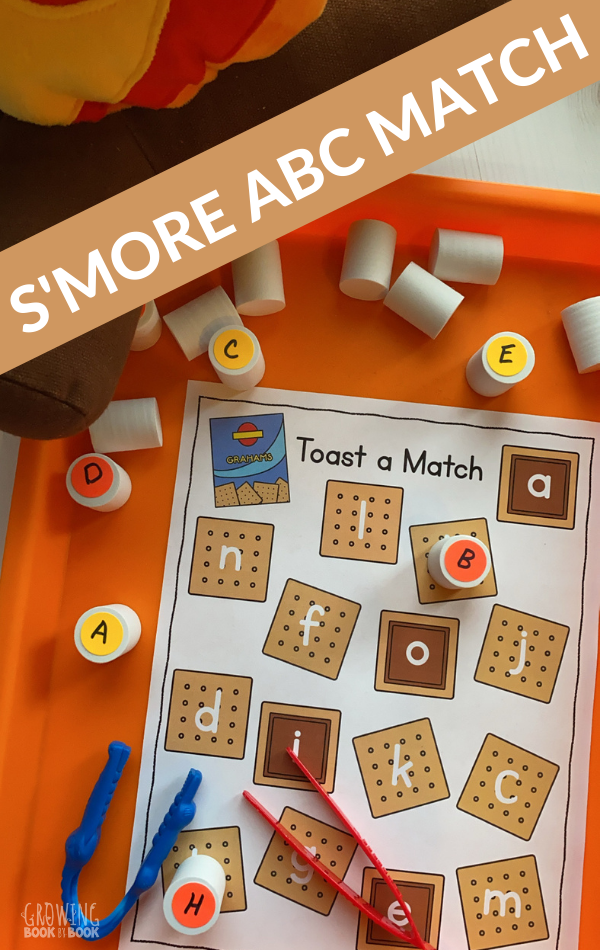 printable alphabet matching activity with a s'more theme
